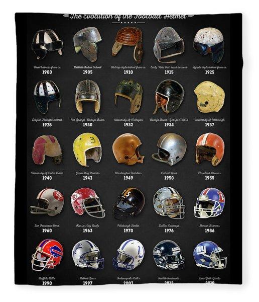 The Evolution Of The Football Helmet Fleece Blanket