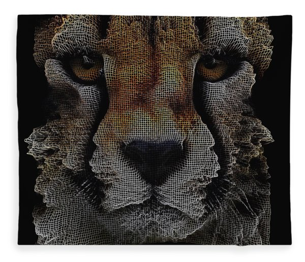 Fleece Blanket featuring the digital art The Face Of A Cheetah by ISAW Company