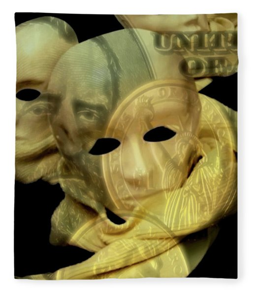 Fleece Blanket featuring the digital art The Face Of Greed by ISAW Company