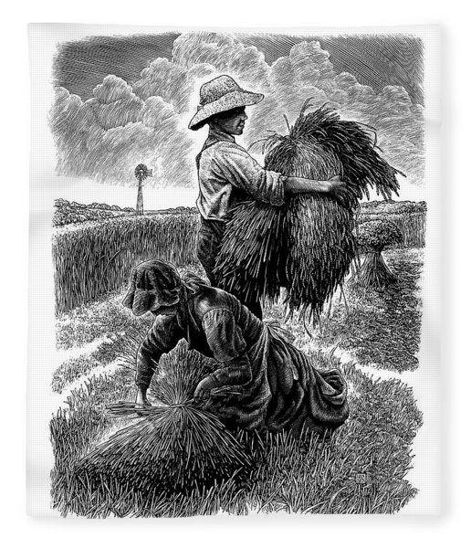 The Harvesters - Bw Fleece Blanket