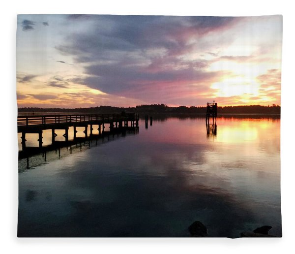 The Hollering Place Pier At Sunset Fleece Blanket