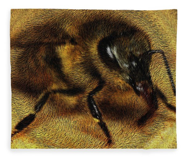 Fleece Blanket featuring the digital art The Killer Bee by ISAW Company