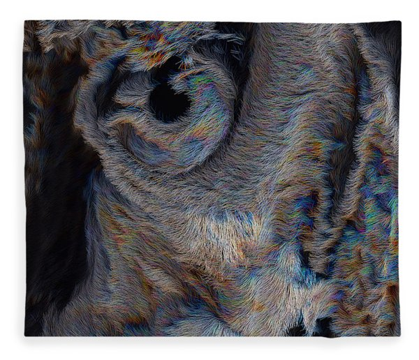 Fleece Blanket featuring the digital art The Old Owl That Watches by ISAW Company