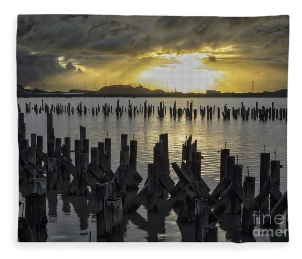 The Old Pier At Sunset Fleece Blanket