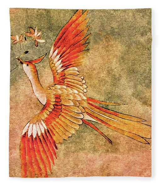 Fleece Blanket featuring the tapestry - textile The Peahen's Gift - Kimono Series by Susan Maxwell Schmidt