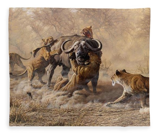 Fleece Blanket featuring the painting The Take Down - Lions Attacking Cape Buffalo by Alan M Hunt