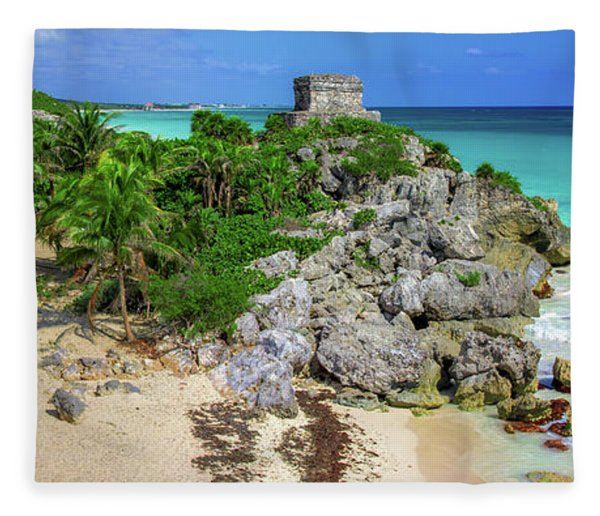 The Temple By The Sea Fleece Blanket