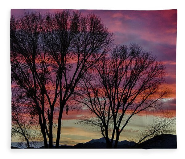 The Trees Know Sunset Fleece Blanket