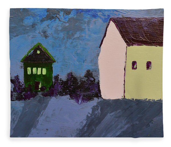 The Village At Night Fleece Blanket