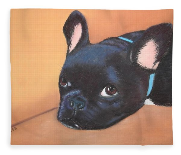 Fleece Blanket featuring the pastel This Is Max by Carol Corliss
