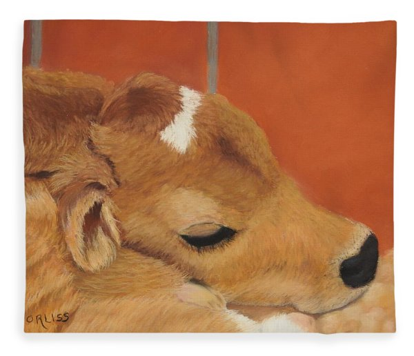 Fleece Blanket featuring the pastel Three Hours Old by Carol Corliss