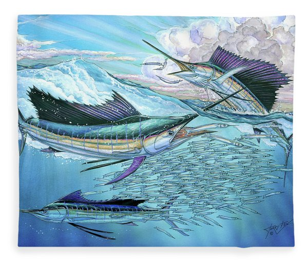 Three Sailfish And Bait Ball Fleece Blanket