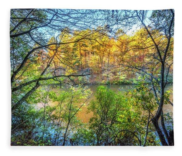 Through The Trees In Autumn Fleece Blanket
