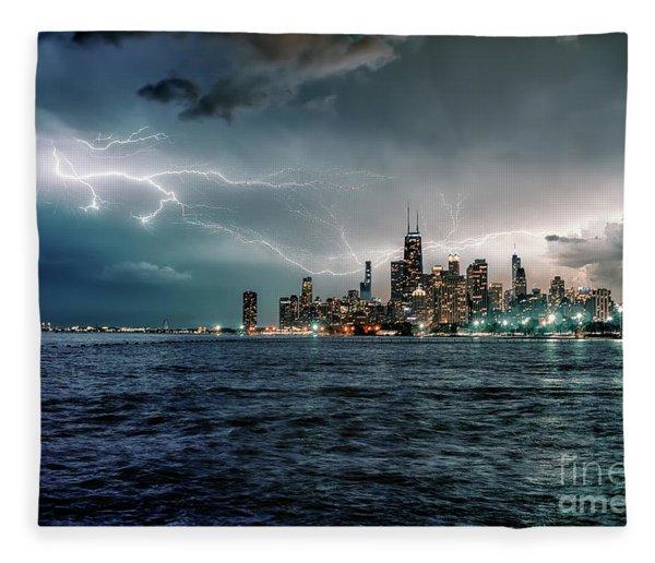 Thunder And Lightning In The Dark City II Fleece Blanket