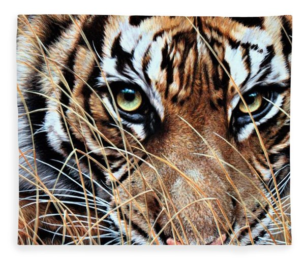 Fleece Blanket featuring the painting Tiger Eyes By Alan M Hunt by Alan M Hunt
