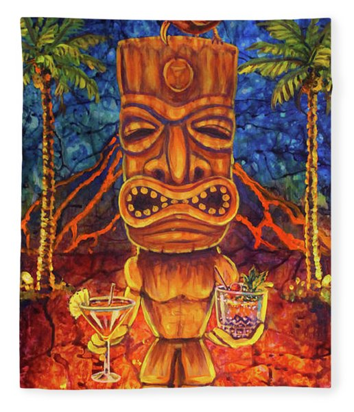 Tiki Cocktail Hour Fleece Blanket