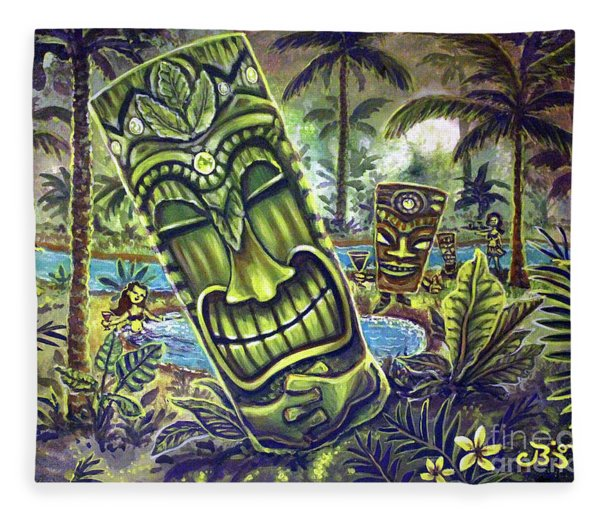 Tiki Genie's Sacred Pools Fleece Blanket