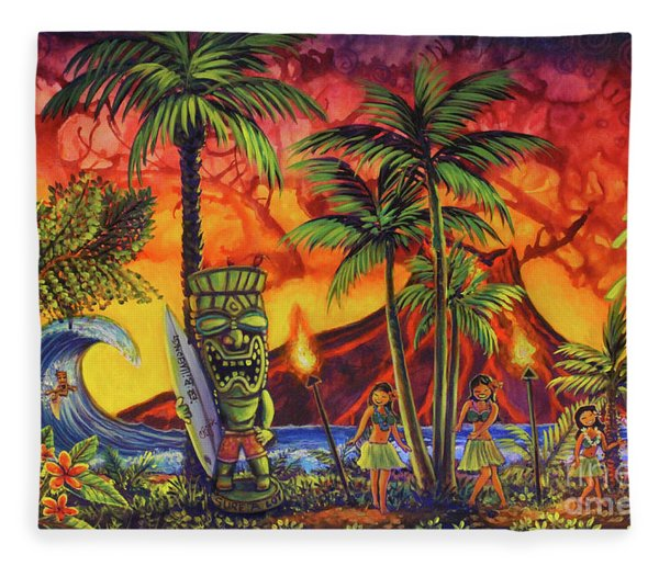 Tiki Surf A Lot Fleece Blanket