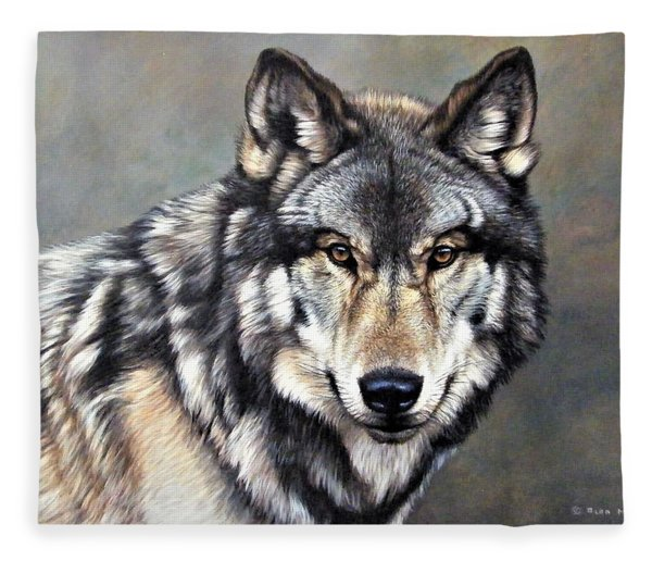 Fleece Blanket featuring the painting Timber Wolf By Alan M Hunt by Alan M Hunt