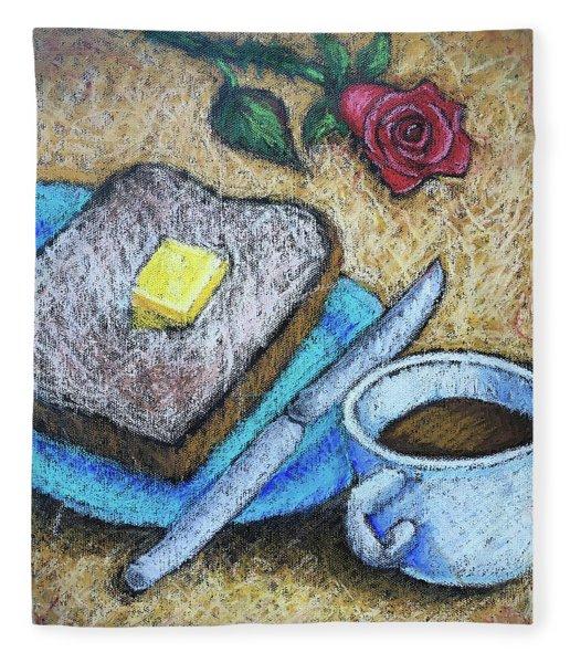 Toast And Roses Fleece Blanket