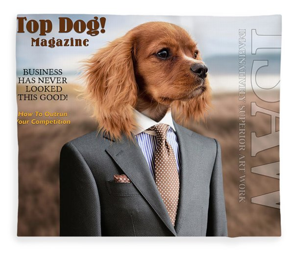 Fleece Blanket featuring the digital art Top Dog Magazine by ISAW Company
