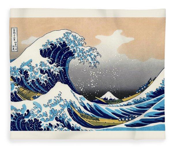 Top Quality Art - The Great Wave Off Kanagawa Fleece Blanket