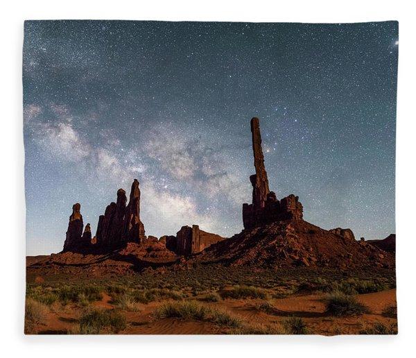 Totem Pole, Yei Bi Che And Milky Way Fleece Blanket