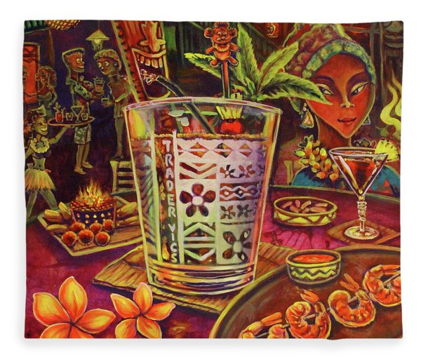 Trader Vic Mai Tai Fleece Blanket