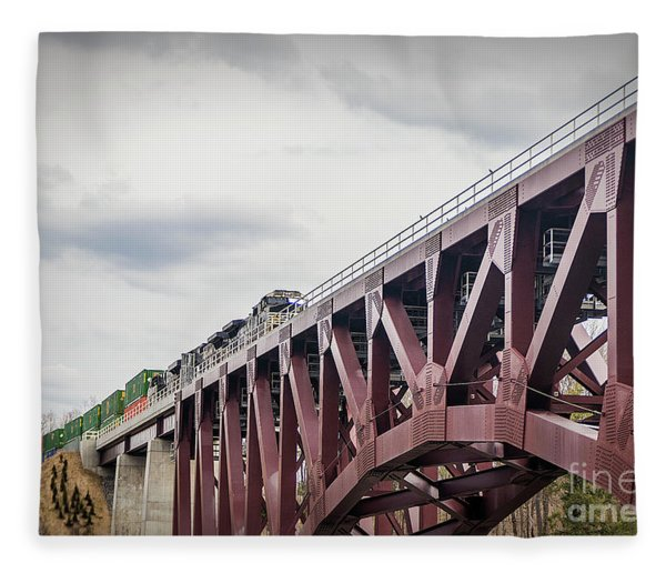 Train Over Letchworth Fleece Blanket