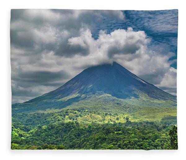 Tranquil Storm Arenal Volcano Fleece Blanket