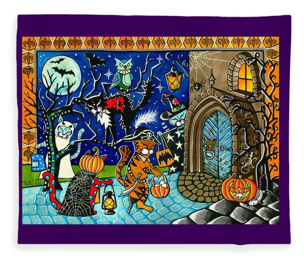Trick Or Treat Halloween Cats Fleece Blanket