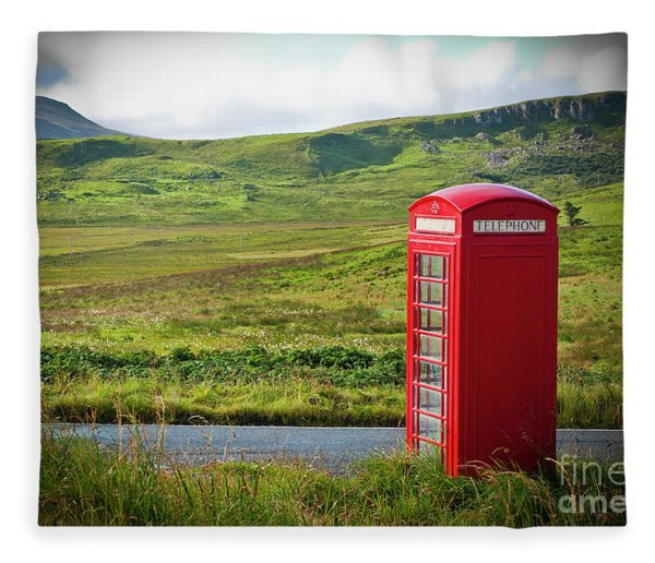 Typical Red English Telephone Box In A Rural Area Near A Road. Fleece Blanket
