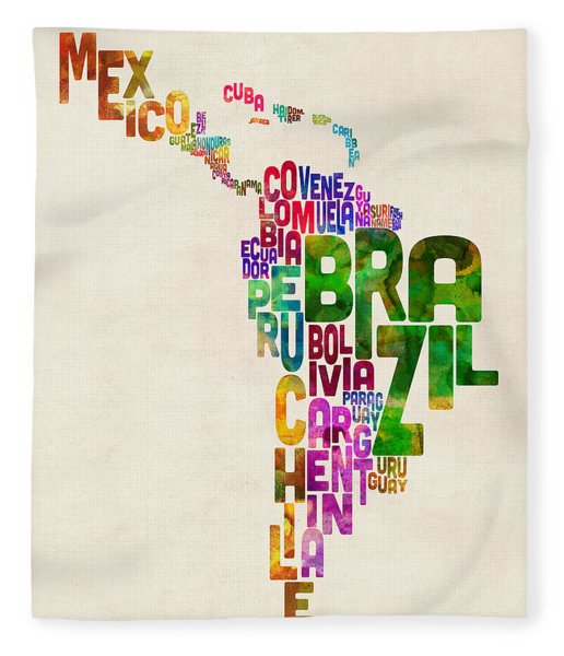Typography Map Of Latin America, Mexico, Central And South America Fleece Blanket