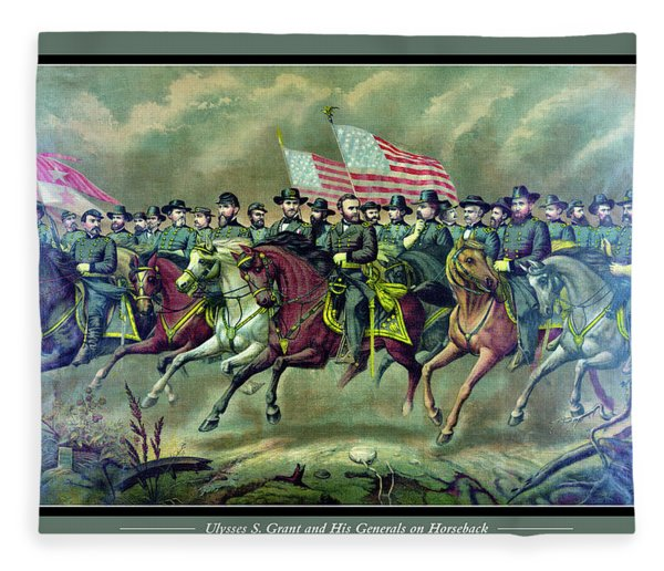 Ulysses S. Grant And His Generals On Horseback Fleece Blanket