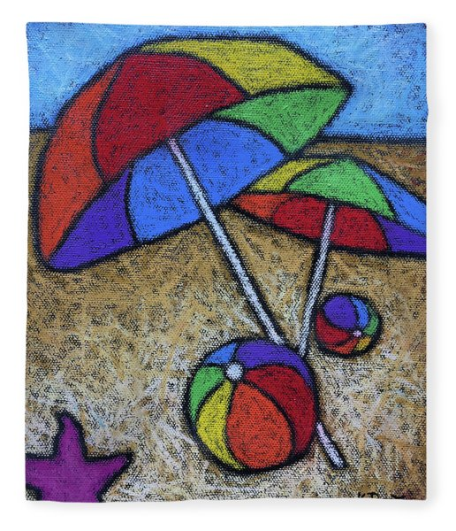 Umbrellas On The Beach Fleece Blanket