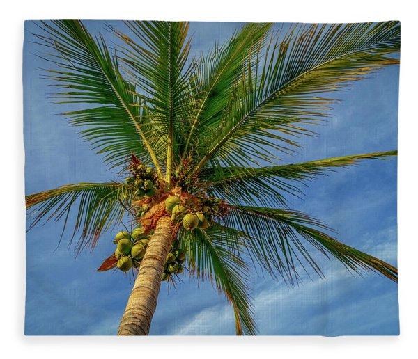 Under The Coconut Palm Fleece Blanket