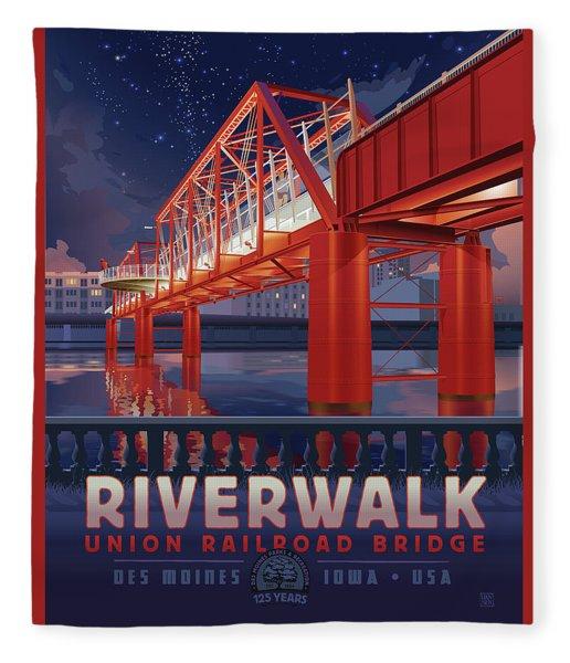 Union Railroad Bridge - Riverwalk Fleece Blanket