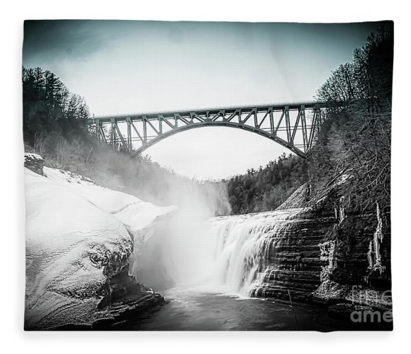 Upper Falls At Letchworth State Park Fleece Blanket
