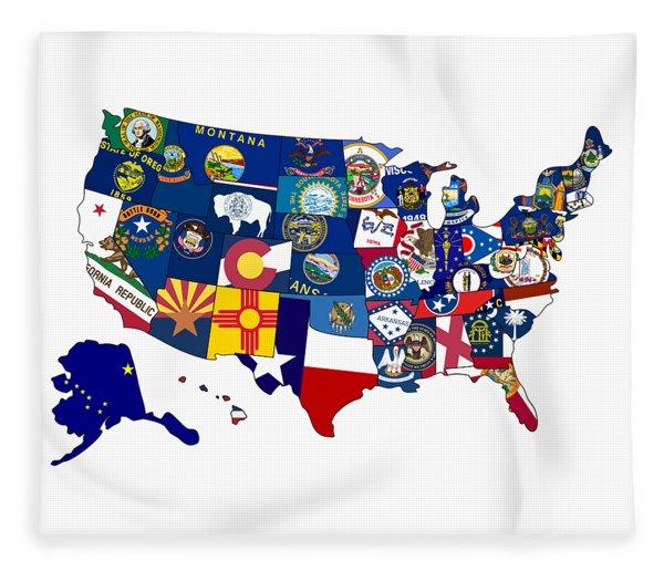 Usa States Flags Map Fleece Blanket