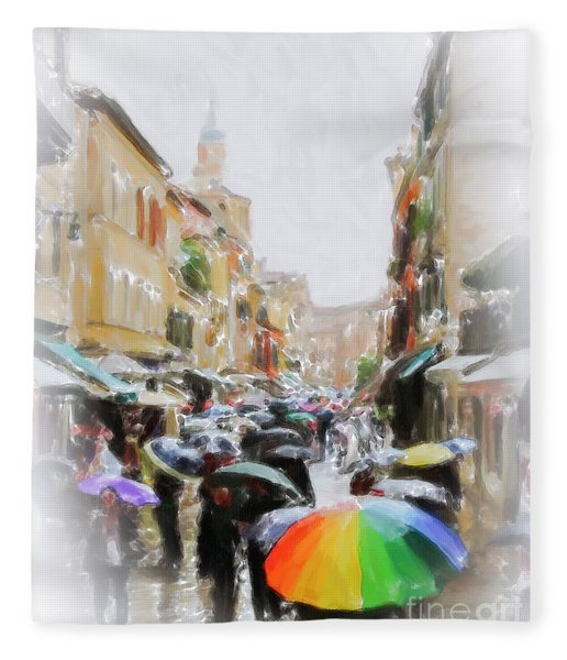 Venice In The Rain Fleece Blanket
