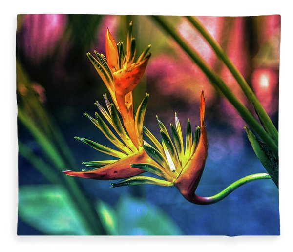Vibrant Jungle Bird Fleece Blanket