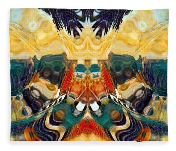 Fleece Blanket featuring the digital art Volcano by A zakaria Mami