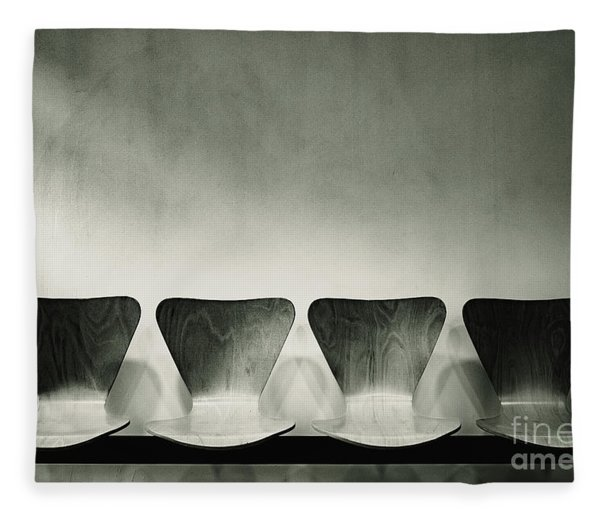 Waiting Room With Empty Wooden Chairs, Concept Of Waiting And Passage Of Time, Black And White Image, Free Space For Text. Fleece Blanket