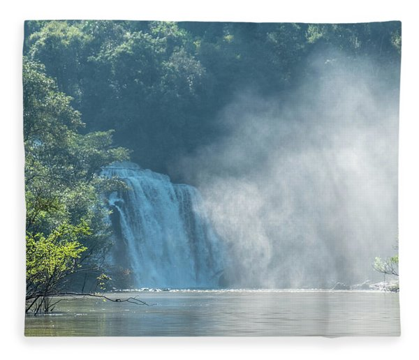 Waterfall, Sunlight And Mist Fleece Blanket