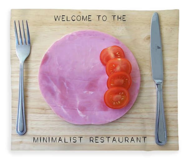 Fleece Blanket featuring the digital art Welcome To The Minimalist Restaurant by ISAW Company