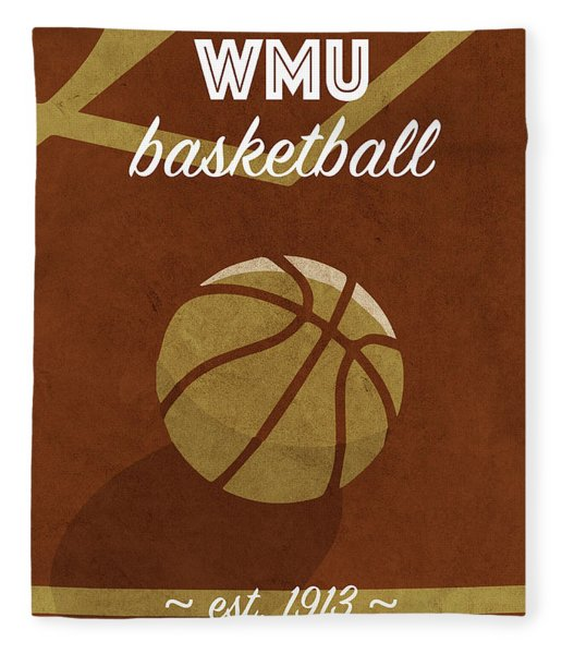 Western Michigan University Retro College Basketball Team Poster Fleece Blanket