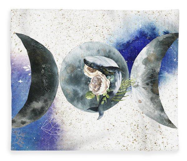 Fleece Blanket featuring the digital art Whale Goddess by Bee-Bee Deigner