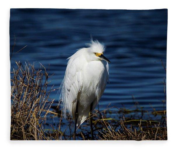 White Egret Fleece Blanket