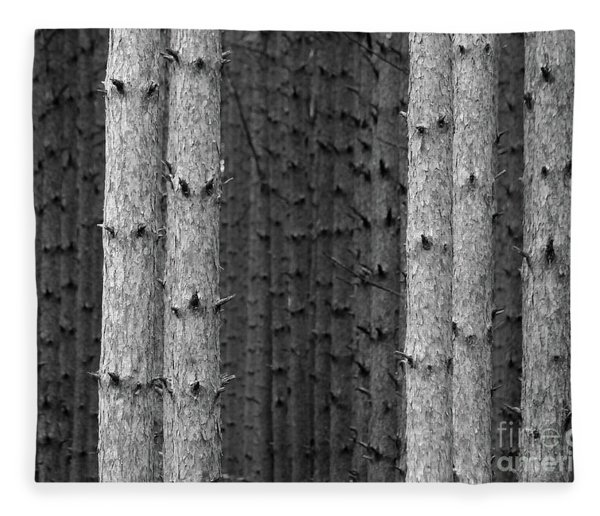 White Pines Black And White Fleece Blanket