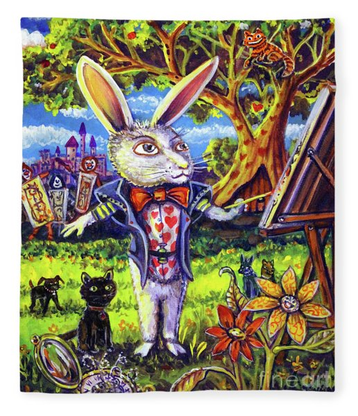 White Rabbit Alice In Wonderland Fleece Blanket